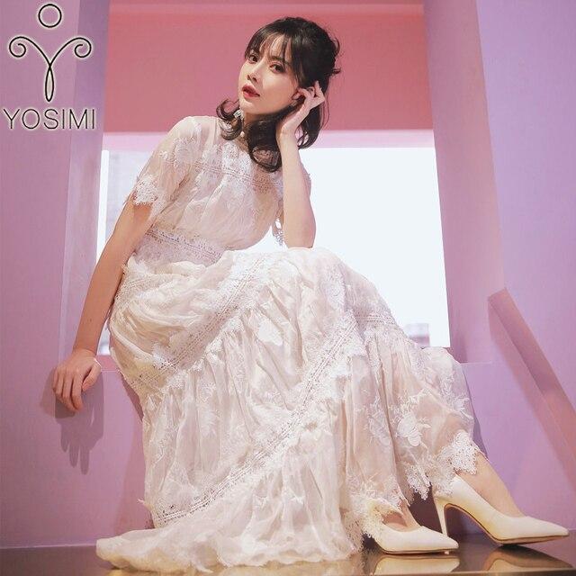 b8736fbf4 YOSIMI 2018 verano vestido de mujer largo vestido Maxi Vintage de gasa de  hadas de blanco