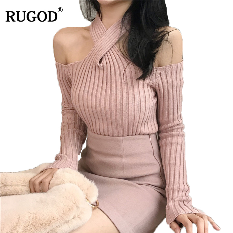 RUGOD Off-shoulder Solid Sexy Sweater For Women Knitted Slim Long Sleeve Pullover Hot Sale Fashionable Jersey Mujer Invierno