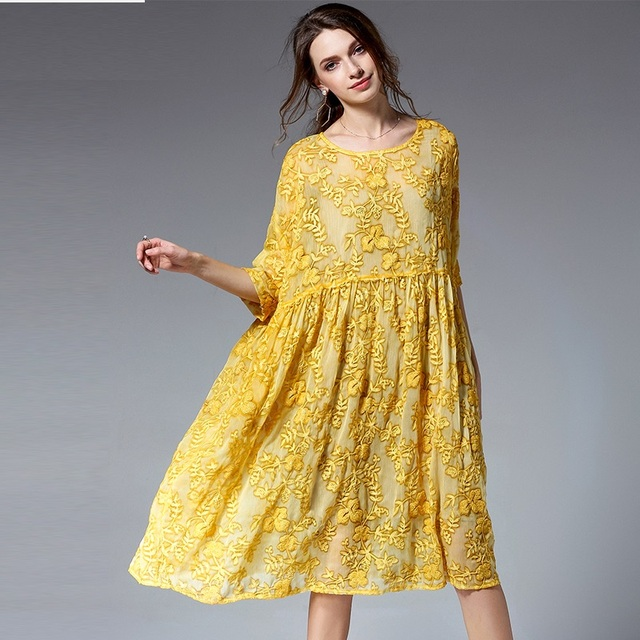 2018 Summer Women Plus Size Loose Fit embroidery Dress Set Elegant Faux  Silk one-piece 20b004398921
