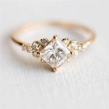 ROMAD Геометрические Квадратные CZ кольца для женщин свадебные золотые стразы женские кольца на палец для дам очаровательные ювелирные изделия anillos R4