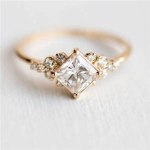 ROMAD CZ Rings Square Rhinestone Geometric R4 Wedding Gold-Color Women Jewelry Ladys