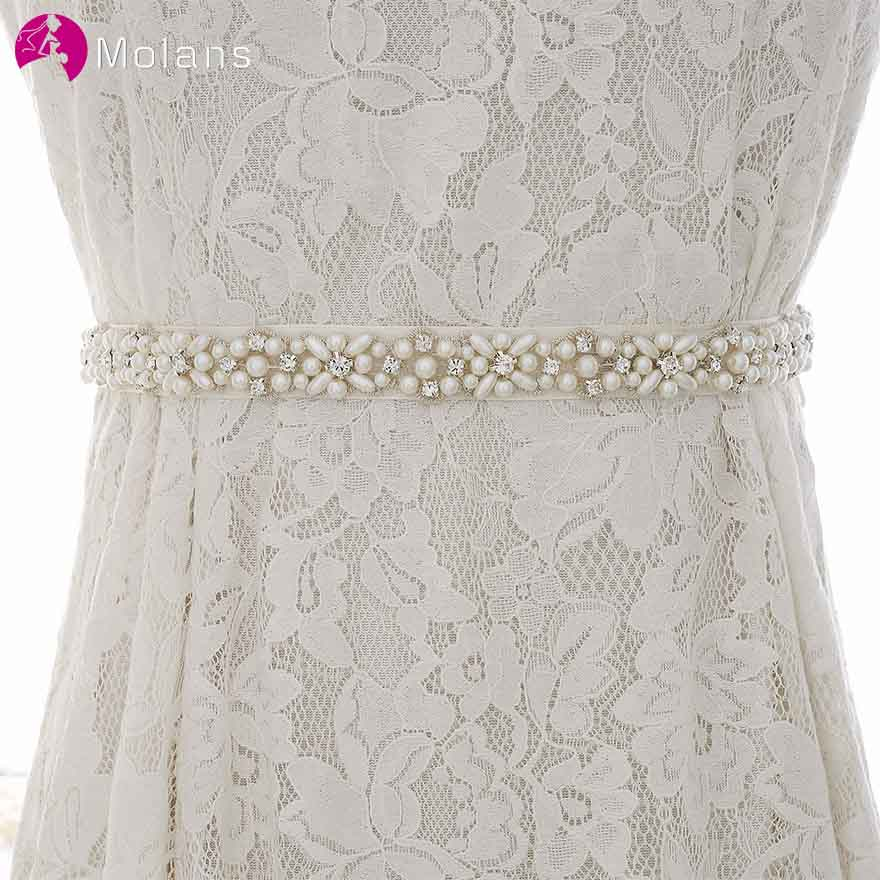 MOLANS Pearl Floral Pattern Diamonds Bride Belts For Wedding Simple Solid Fancy Waistbands For Women Evening Dress Accessories