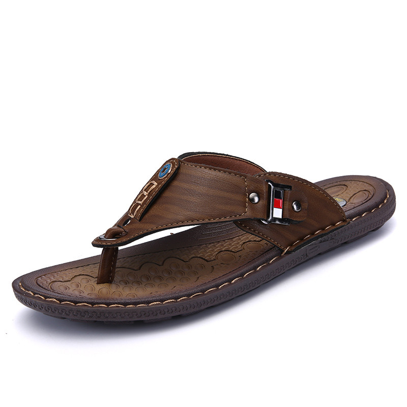 Slip-on Beach Shoes Casual Flip Flops Big Size 38-46 Brand Fashion Men Summer Leather Slippers Breathable Comfortable