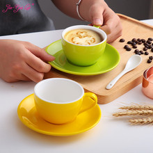 Jia-gui luo 150 ml high-grade ceramic coffee cups Coffee cup set Simple European style Cappuccino flower cups Latte