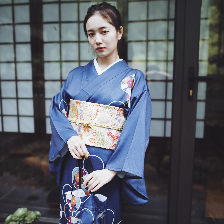 Синее японское женское торжественное платье, национальное кимоно юката с принтом Obi, платье с цветочным принтом для девочек, винтажный карн... - 3