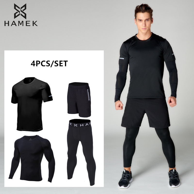 2018 New Men Running Sets Quick Dry Jogger Sport Gym Compression Suit Yoga Fitness Set Men Basketball Training Suit Set 4pcs/set new 2017 men s basketball sportswear suit sets jacket and shorts personality print custom logo training wear