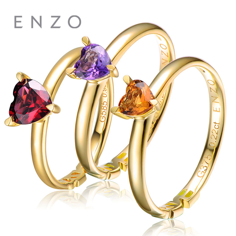 ENZO Fine Jewelry 0.27Ct Heart Shape Garnet Ring 9K Yellow Gold Mix&Match Style Fashion Rings And Citrine Circle small beginnings mix and match