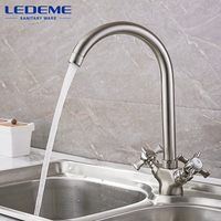 LEDEME Bathroom Faucet Dual Handle Polished Rotating 2 Holes Home Taps Brass Thermostatic Mixer Mounted Basin