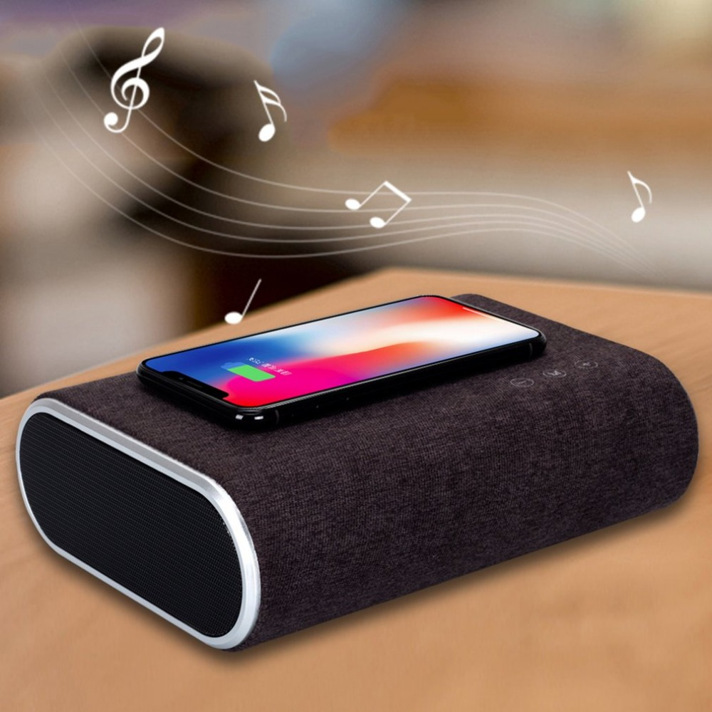 F176 Smart Wireless Charger Bluetooth Speaker Stereo Music Player Portable Travel Quick Charging Adapter For Mobile Phones
