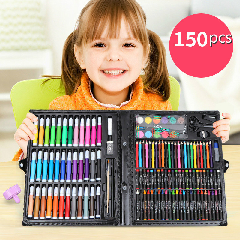 150Pcs/lot Childrens Paintbrush Set School Supplies Oil-Crayon Painting Tools Kids for darwing 150Pcs/lot Childrens Paintbrush Set School Supplies Oil-Crayon Painting Tools Kids for darwing