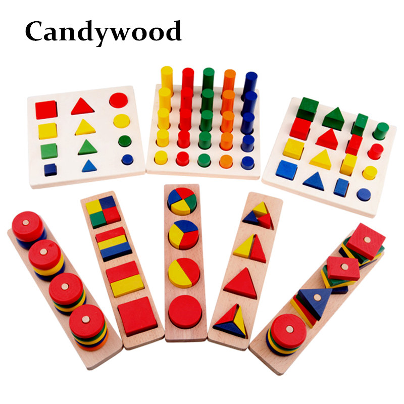 Candywood 8PCS / Set Montessori Baby kids wooden Teaching Aids  Geometric Shape Sorter Stacker blocks Children Educational Toy free ship 1 set of 100pc children kids natural wooden build blocks montessori sensorial early development educational material
