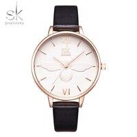 SK Fashion Women Watch Luxury Brand Leather Strap Relief Dial Watch Women Dress Watch Casual Quartz