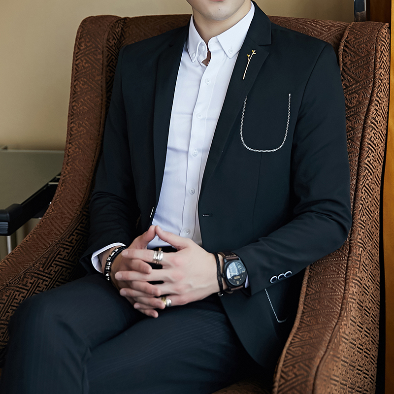 Mens suit spring and autumn new business casual small suit mens jacket European station simple wind wild popular suit