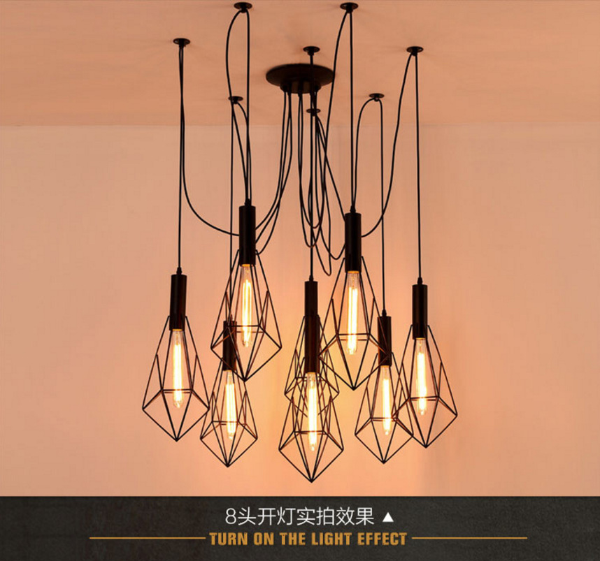 Vintage Loft Antique Retro Edison Bulb Light Chandelier Adjustable DIY E27 Art Spider Ceiling Lamp Fixture Light retro edison bulb art spider pendant chandelier vintage loft antique diy e27 ceiling lamp fixture no bulbs ac110 240v
