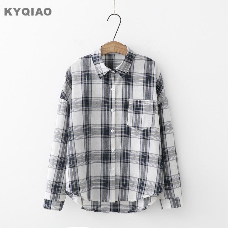 Kyqiao Women Bf Style Plaid Shirt Female Autumn Winter Japan Style Japanese Style Casual Loose Long Sleeve Plaid Blouse Blusa Women's Clothing