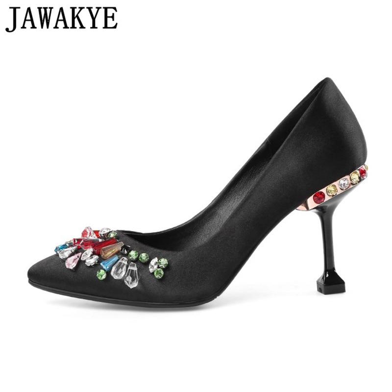 Runway style Rhinestone Women Party Pumps Silk Pointed Toe Stiletto high  Heels Elegant Lady Crystal fringe 8808ae50c4ea