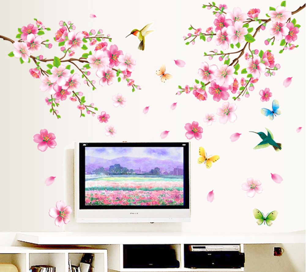 Stora 9158 Eleganta Flower Wall Stickers Graceful Persika Blommande Fåglar Väggklister Möbler Romantiska Living Room Decoration