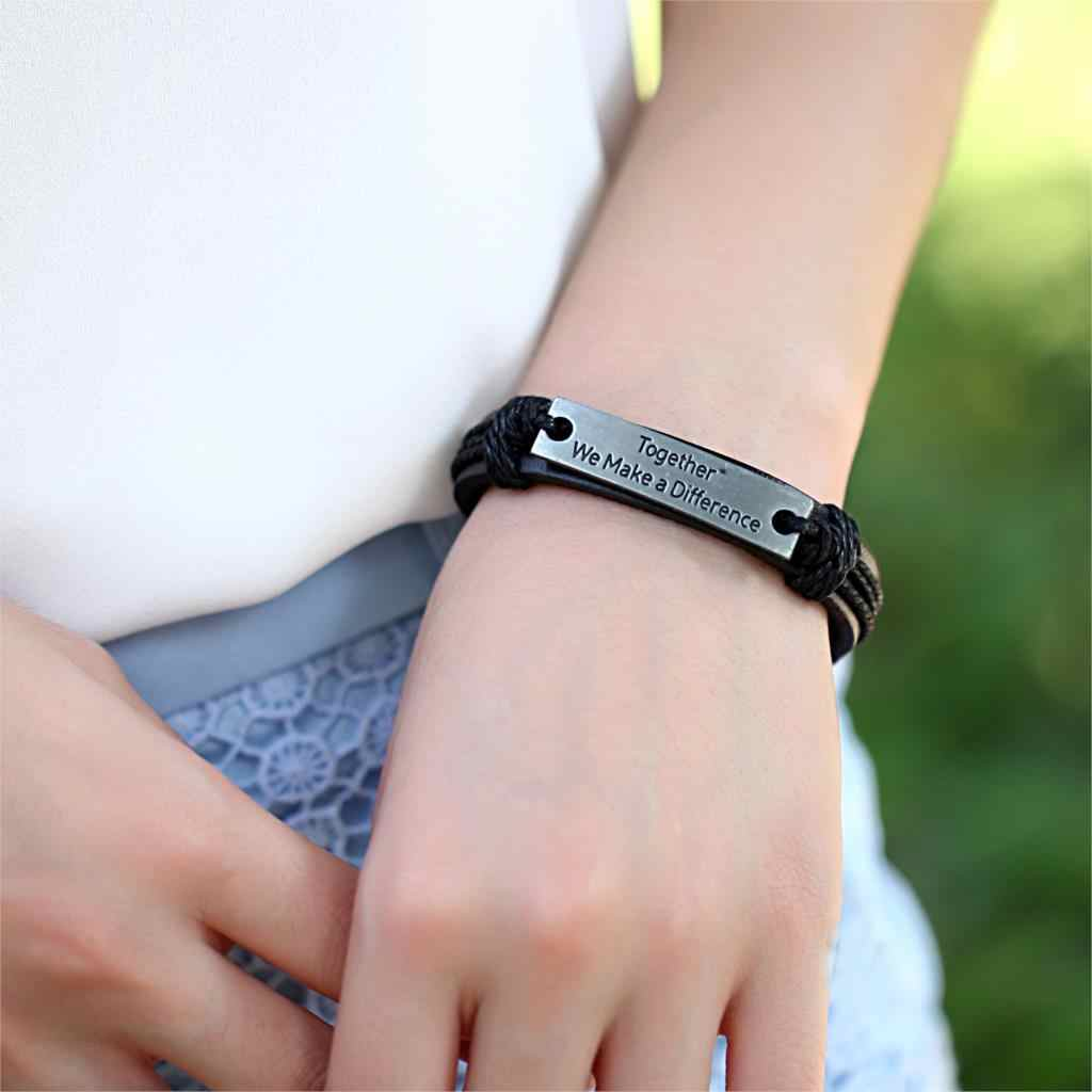 Zusammen Wir Machen EINEN Unterschied Echtem Leder Armband Charme Manschette Bangle Handmade Jewerly Für Frau Männer