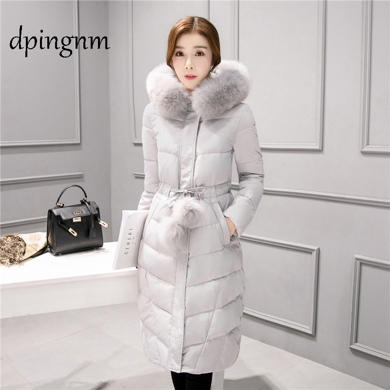Big fur winter   coat   thickened parka women stitching slim long winter   coat     down   cotton ladies   down   parka   down   jacket women 2019
