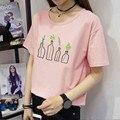 Coreano New Arrivals Garrafas Bordados Mulheres camiseta Plus Size Verão Casuais Solta T-shirt de Manga Curta O-pescoço T-shirt 41060