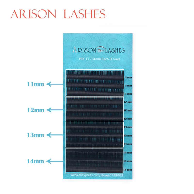 ARISON,12Rows,Faux mink individual eyelash extension, cilia lashes extension for professionals,soft mink eyelash extension