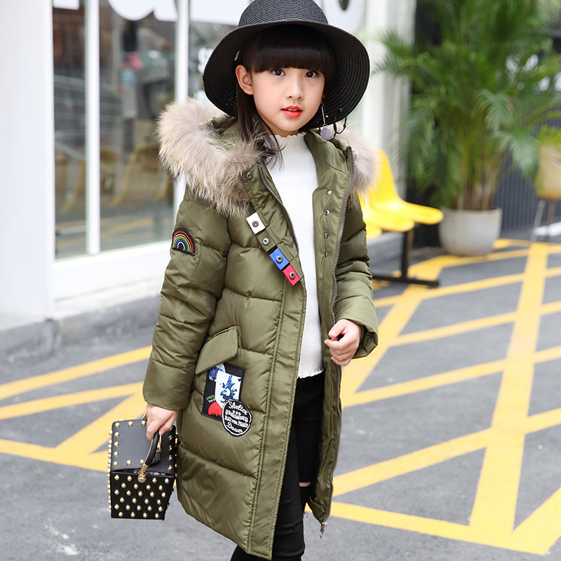 2017 Winter Warm Children Down Jacket for Girls Thicken Natural Fur Collar Hooded Duck Down Coat Kids Outerwear Overcoat Parkas 2015 new hot winter thicken warm woman down jacket coat parkas outerwear rabbit fur collar luxury slim long plus size xl high
