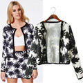 2016 spring & Autumn Women Casual Open Stitch Style Short Outerwear Vintage Coconut Tree Pattern Print long Sleeve Coat
