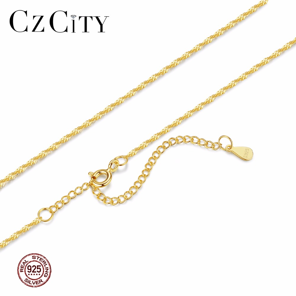CZCITY Genuine 925 Sterling Silver Women Chain Necklace Two Colors Crude Or Fine Link Chains 40+5cm Necklaces Jewelry Woman Gift