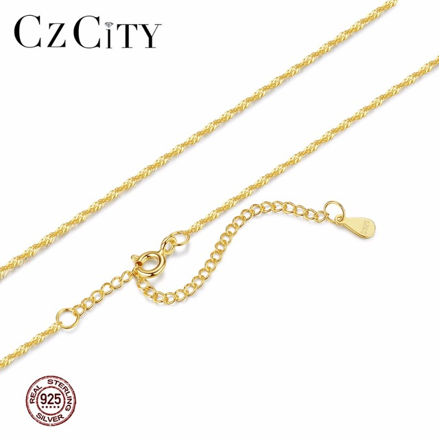 CZCITY Genuine 925 Sterling Silver Women Chain Necklace Two Colors Crude or Fine