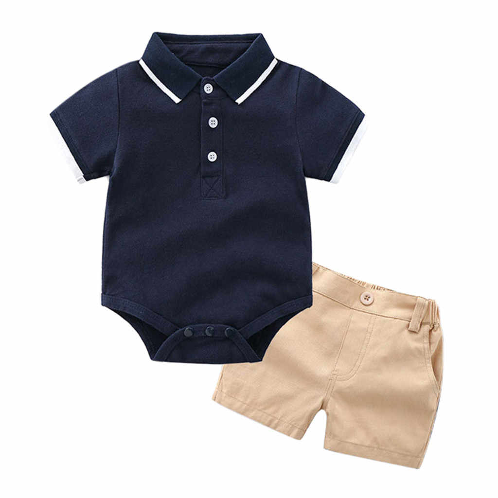 a05d7c2748be9 Newborn Boys Outfits Toddler T-shirt Romper Tops Solid Pants Trousers  Clothes Set 6M-18M carters baby boy little boy outfits