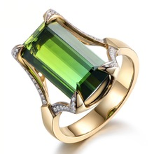 Luxury Big green Gem rings Jewelry Gold Color Rectangle Stone finger New Women Engagement Wedding Fashion Accessories J40