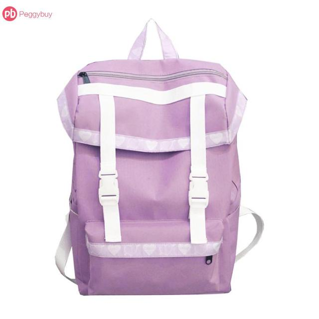 Light Pink Purple Sweet Cute Women Large Capacity Nylon Backpacks Travel School  Shoulder Bags Rucksack Easy 06b17ad3bc2da