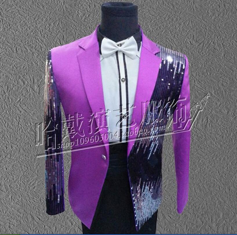 More Colors ! Men singer red black blue purple sequins suit jacket formal dress The host dress costumes !