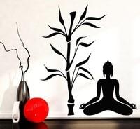 Buddha Tree Blossom Yoga Vinyl Wall Decal Buddhism Sit in Meditation Relaxation Art Wall Sticker Living Room Bedroom Home Decor