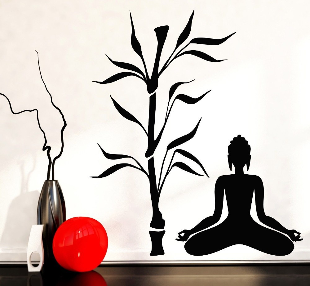 Buddha strom květ jóga vinylová zeď obtisky buddhismus sedět v meditaci relaxace umění nástěnná nálepka obývací pokoj ložnice domácí výzdoba