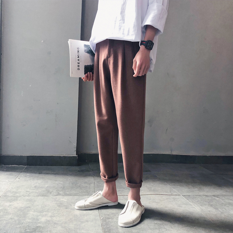 Streetwear Pants Male Nine Part Leisure Time Haren Feet Flax Hip Hop Joggers Personality City Boy Trend Exquisite Fashion
