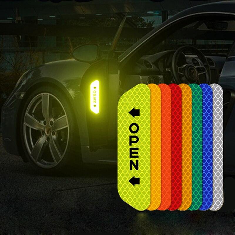 4pcs Car Door Safety Anti-collision Warning Reflective Stickers For Mercedes Benz W202 W220 W204 W203 W210 W124 W211 AMG CLK