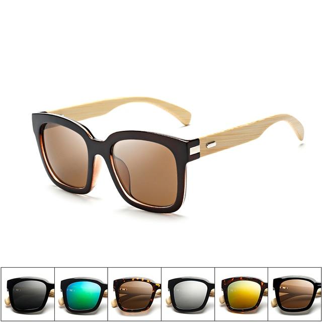 Bambou lunettes de Soleil Hommes En Bois Oversize Femmes femelle Carré  Designer Miroir D origine 791040f053ab