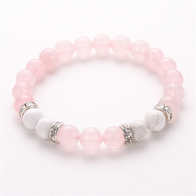 8Mm Pink and White Natural Stone Bracelets & Bangles Crystal Beads Bracelets for Women Handmade Jewellery Pulsera MBR180113