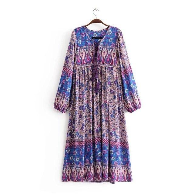 5c960d3629 Ethnic chic Women Vintage Floral print tassel Long Sleeve dress Summer  Casual Boho purple Midi dresses 2018 vestidos Z837