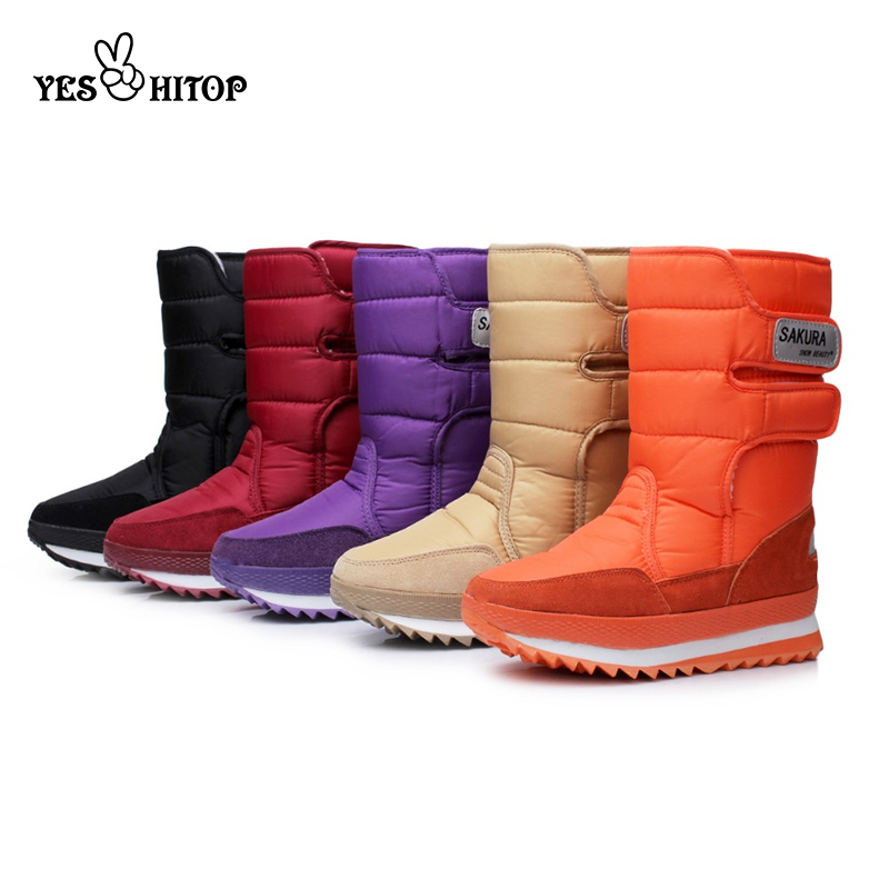 Winter Boots Shoes Flats Warm Hiking Waterproof Women Ladies Neve Mujer EUR35-45