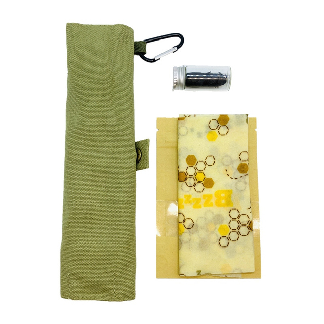 Reusable Picnic Kit – Beeswax Wrap, Bamboo Utensils & Charcoal Floss