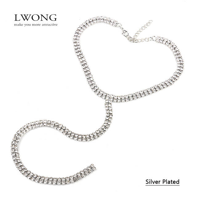 LWONG Sexy Long Rhinestone Choker Necklace Jewelry Double-Strand Layered  Choker Rhinestones Crystal Chokers Long 640b794f35c1