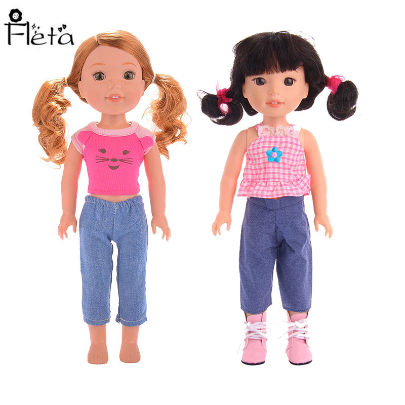 New Doll Clothes Set = Tops + Pants  For 14.5 Inch American Accessories Baby Generation Christmas Gifts