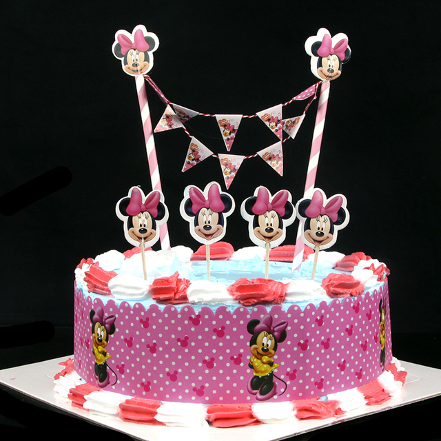 Minnie Mouse Theme Cartoon Cupcake Ice Cream Cake Toppers Cake Wrap