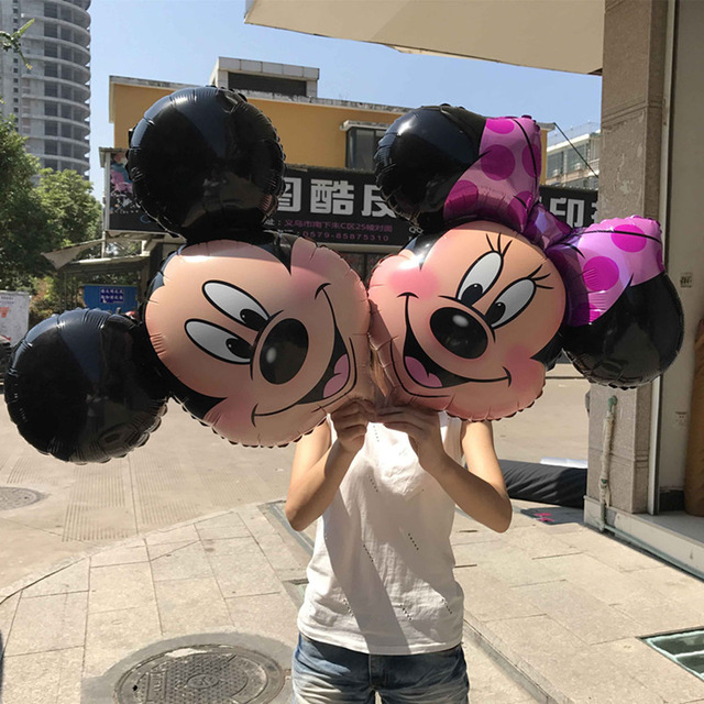10pcs Large Minnie Mickey foil balloons Pink Bowknot Minnie Head balloons wedding birthday party decor supplies globos