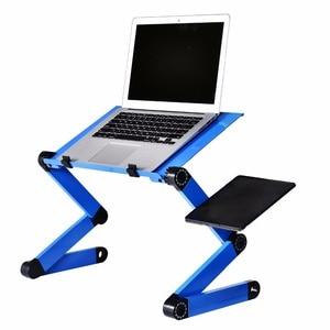 Image 1 - Liga de alumínio mesa do portátil ajustável portátil dobrável computador estudantes dormitório mesa do portátil suporte do computador cama bandeja