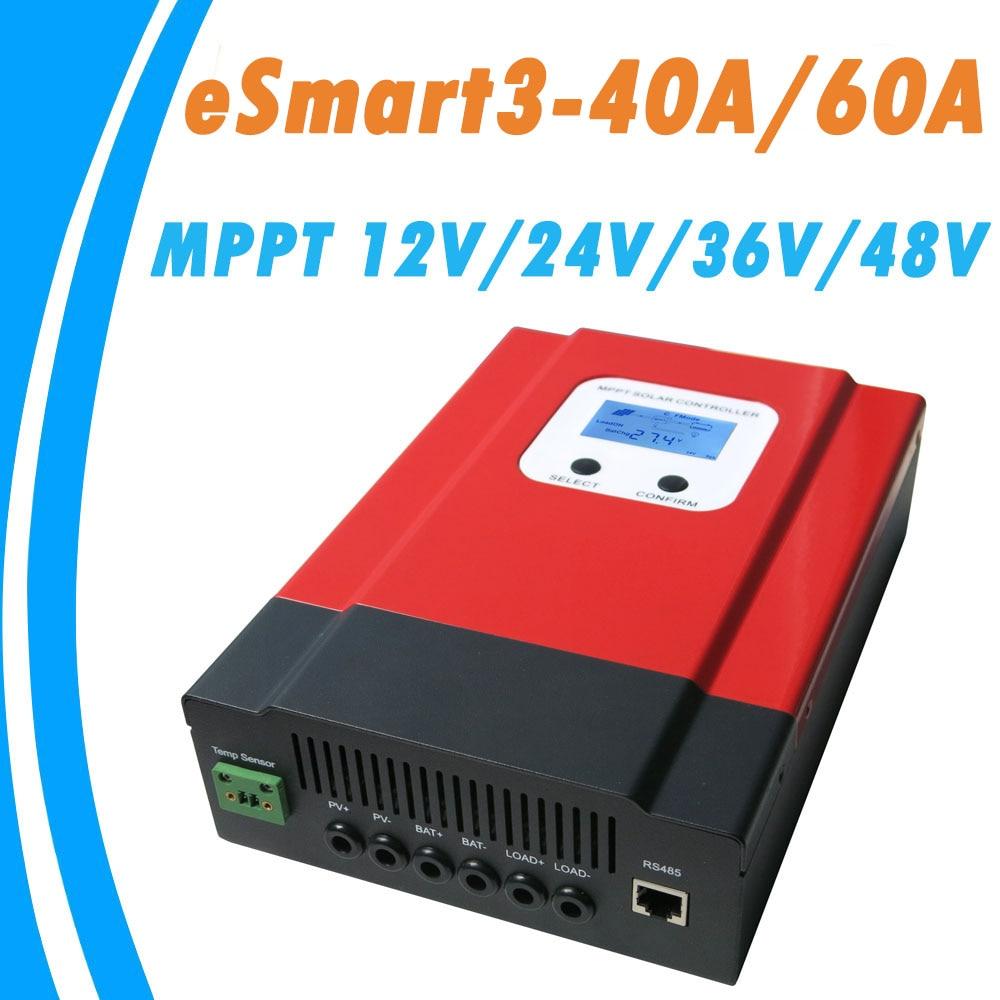 Atualizado ESmart3 40A 60A MPPT Controlador Solar 48 v/36 v/24 v/12 v Auto de Volta -Entrada de Poupança de Energia luz LCD Max 150VDC RS485 Porta