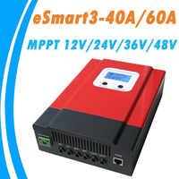 Controlador Solar actualizado esart3 MPPT 40A 60A 48 V/36 V/24 V/12 V Auto retroiluminación LCD Max 150VDC entrada ahorro de energía Puerto RS485
