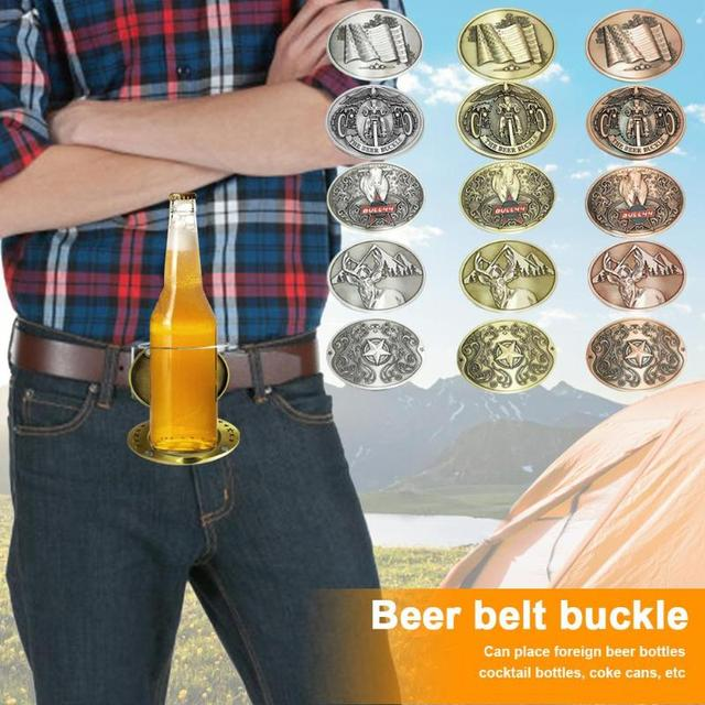 Hot Bar Metal Beer Head Belt Funny Bottle Buckle for Outdoor Drinking Camping Picnic Beer Can Holder Party Funny Decoration